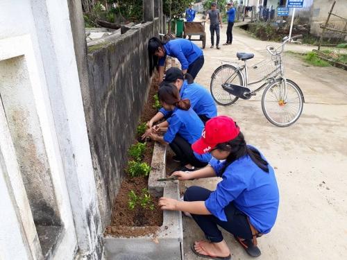 Quế Xuân 1: tổ chức ra quân trồng cây xanh.